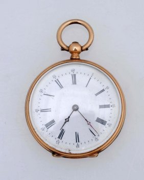 A Lady's Enamel And 14kt Gold Pocket Watch