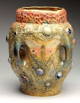 Amphora Ceramic Jeweled Spider Web And Moth Vase.
