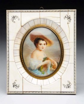 Miniature Ivory Painting Of Young Lady.