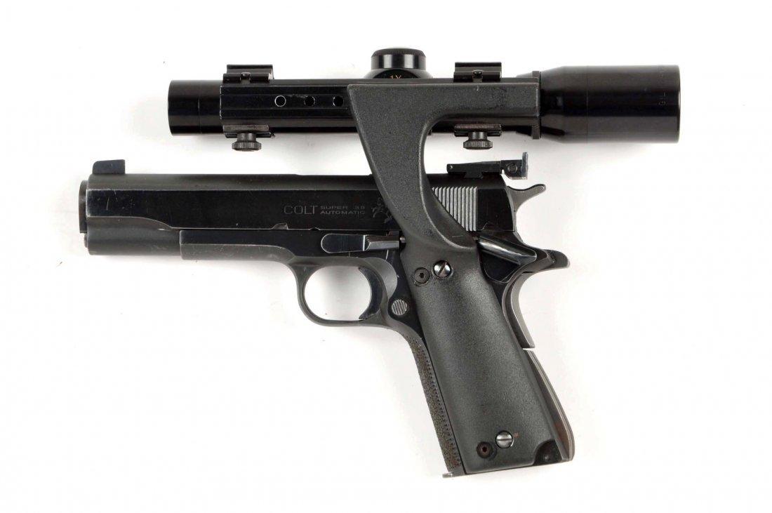 (C) Custom Colt Model 1911 A-1 38 Super Pistol. - 2
