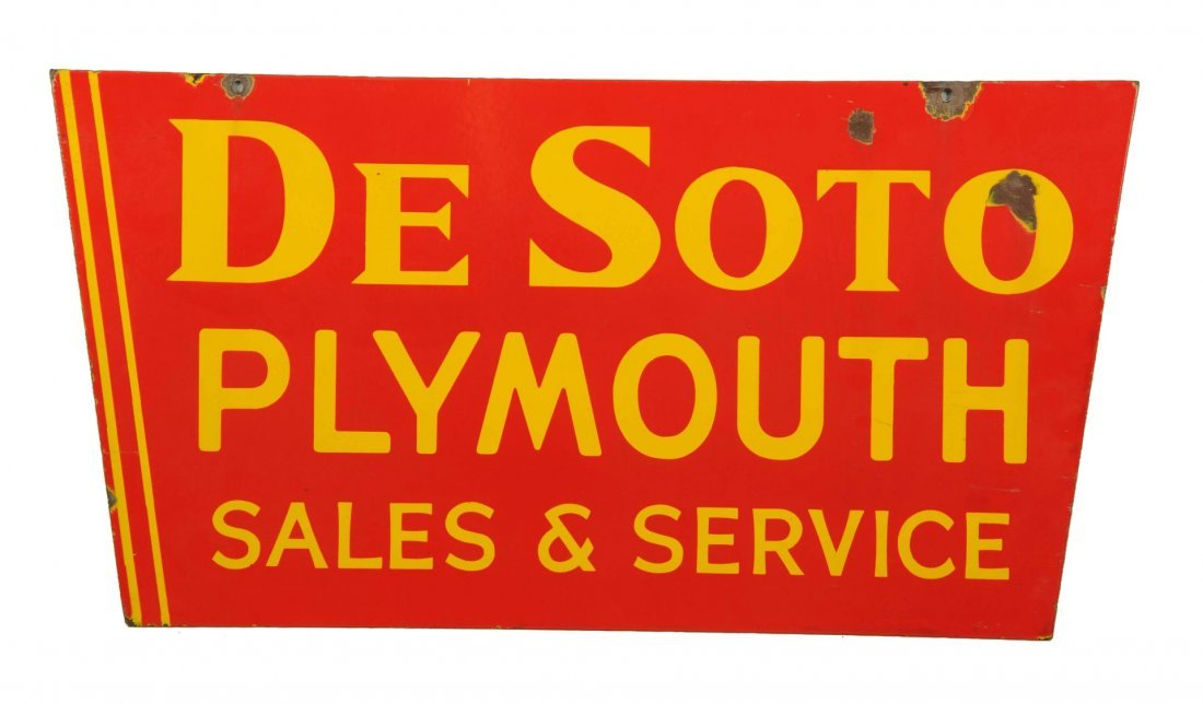 De Soto Plymouth Sales and Service Sign - Red.