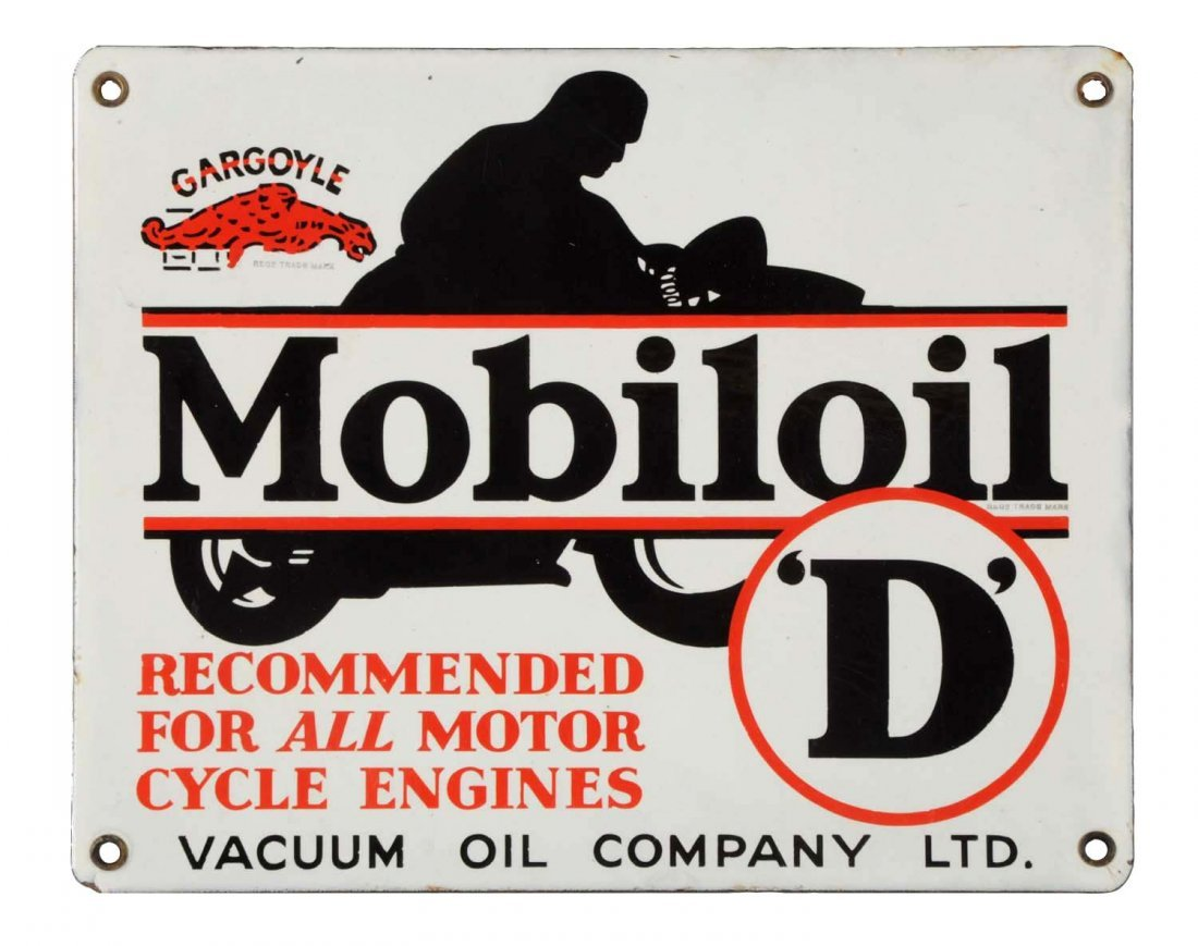 "Mobiloil w/ Gargoyle ""D"" Porcelain Sign."