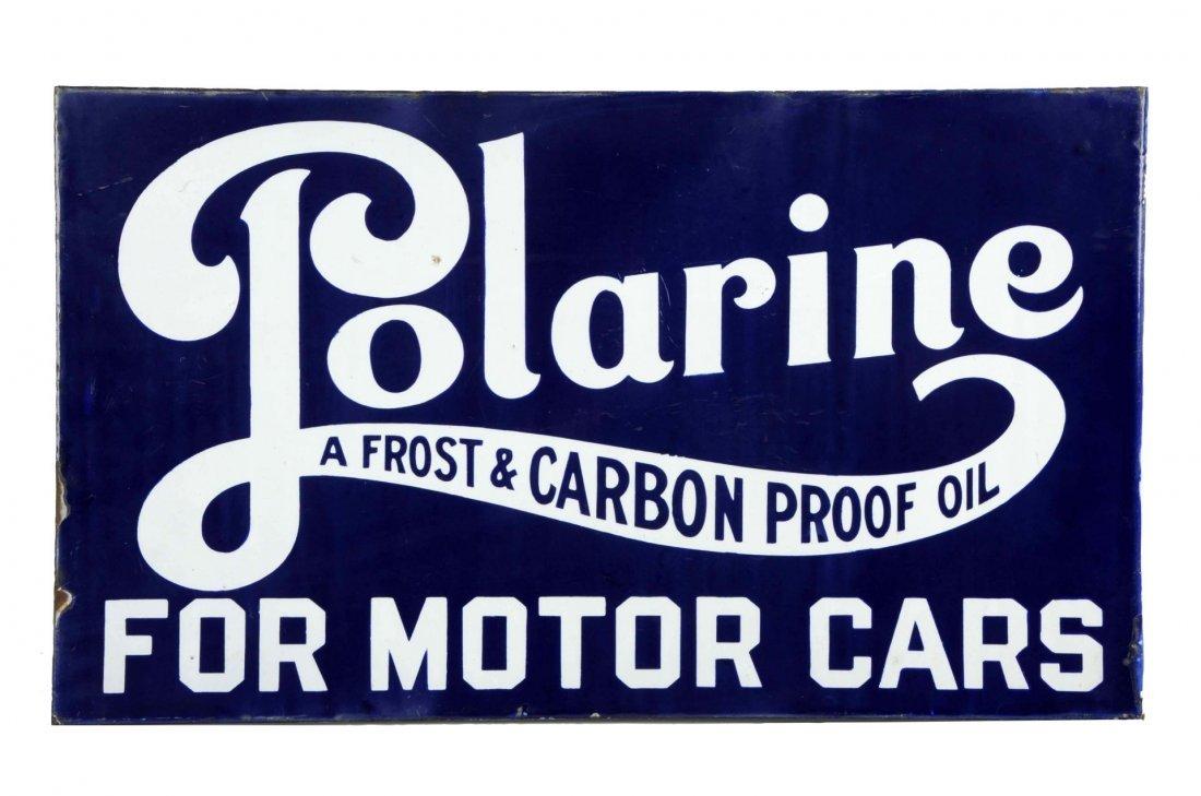 Porcelain Polarine For Motor Cars Flange Sign.