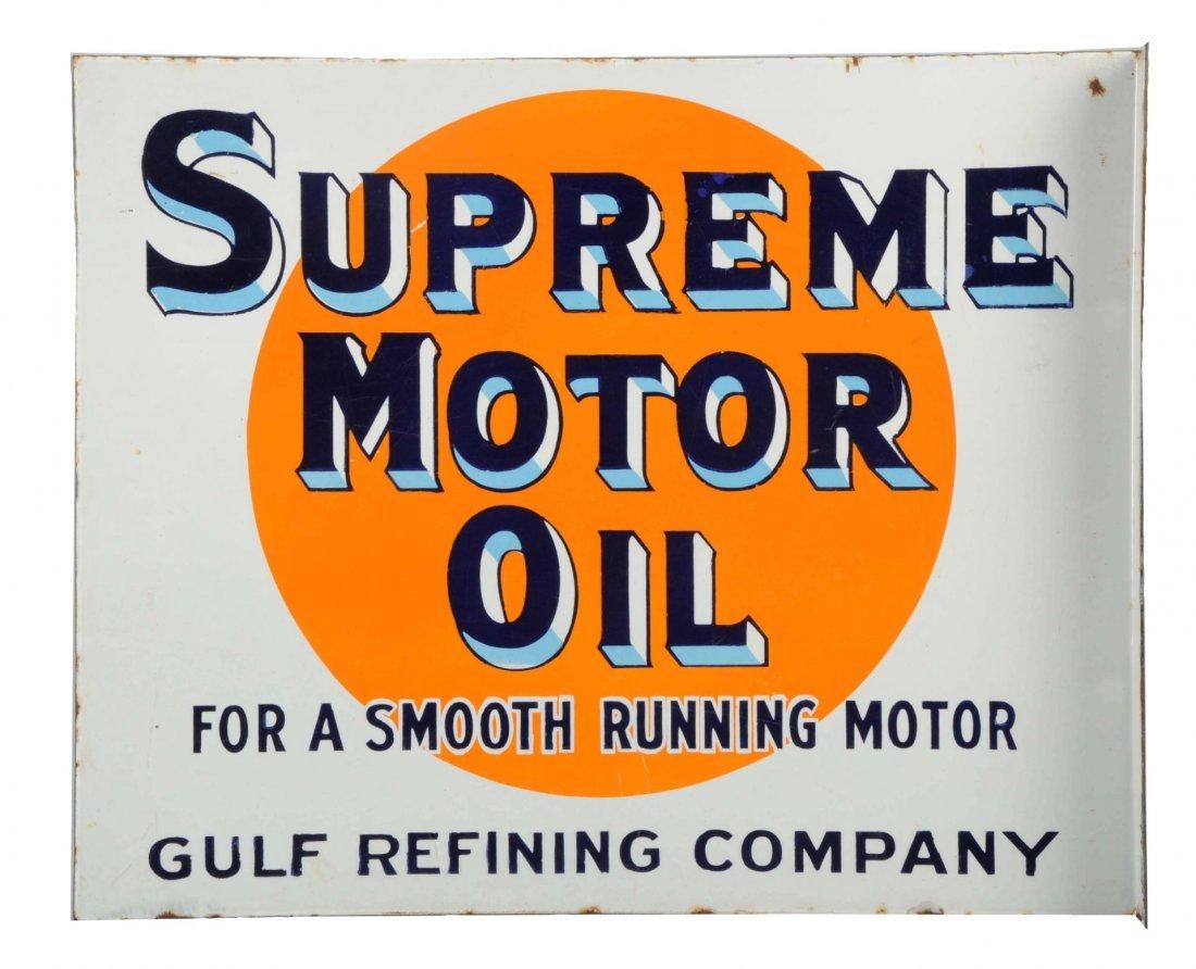 Porcelain Supreme Motor Oil Flange Sign.