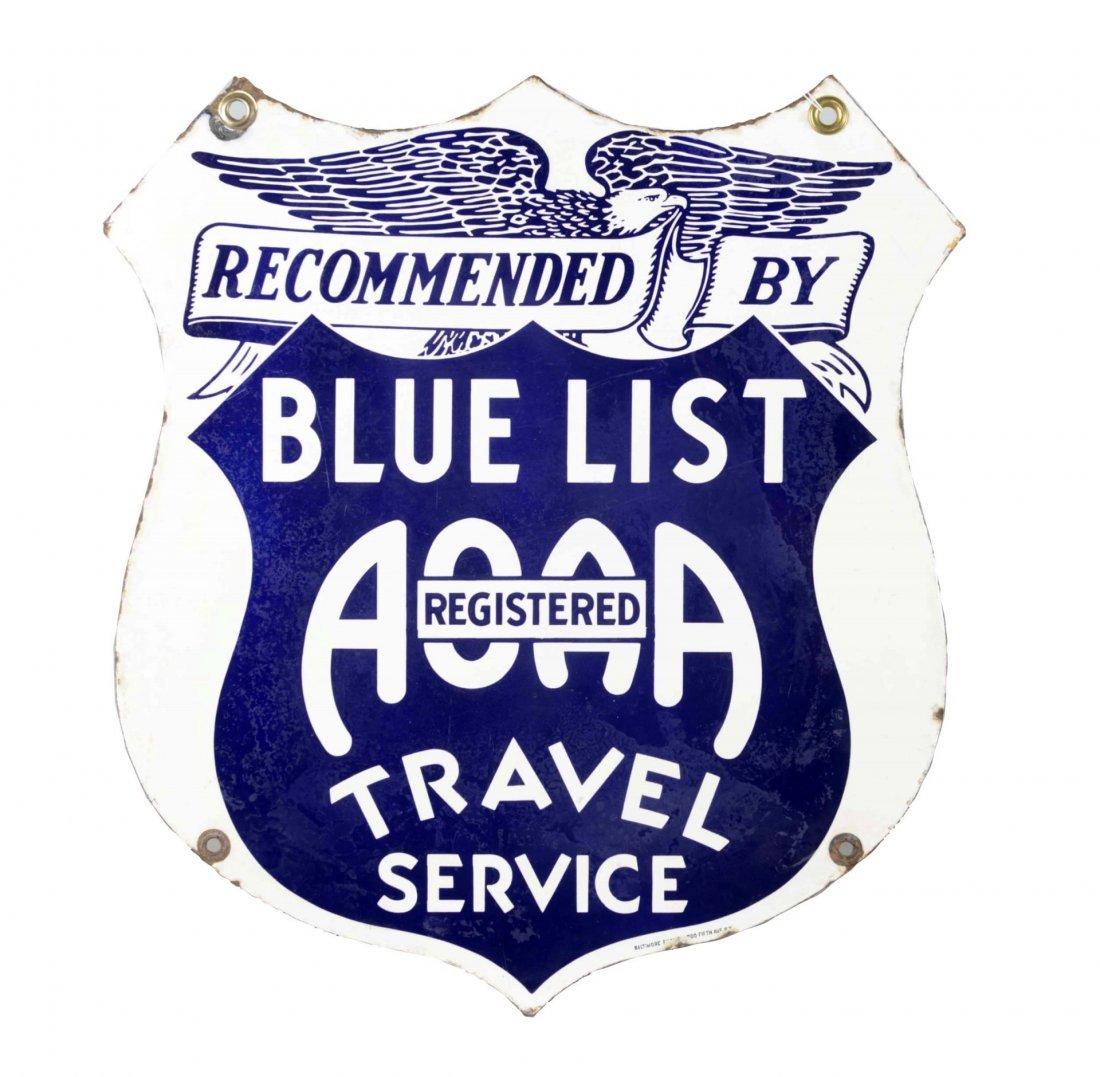 Blue List Diecut Travel Service Porcelain Sign.