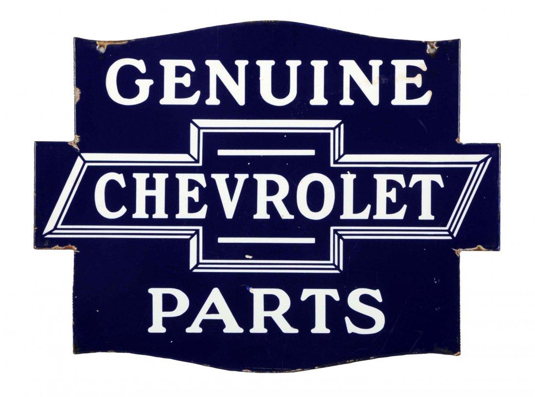 Genuine Chevrolet Parts Diecut Porcelain Sign.