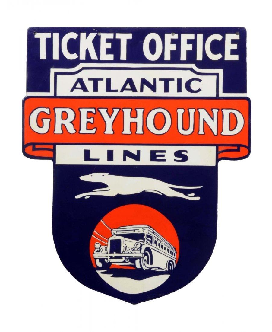 Greyhound Atlantic Lines Porcelain Sign - Restored