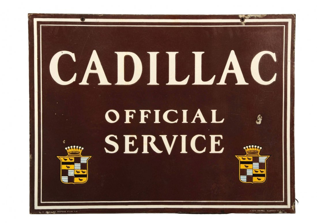 Cadillac Official Service with Crest Logo Sign.