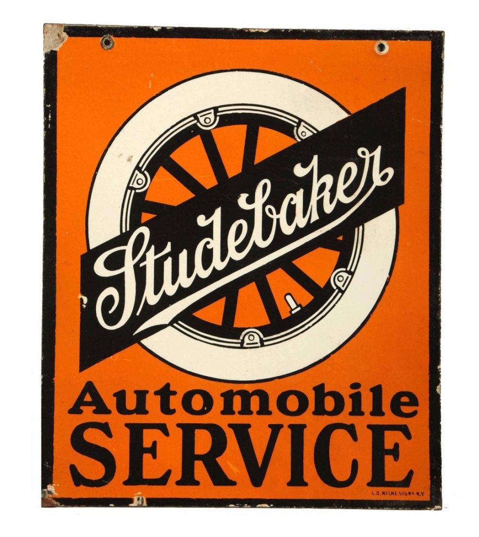 Studebaker Service-Early Wheel Logo Porcelain Sign