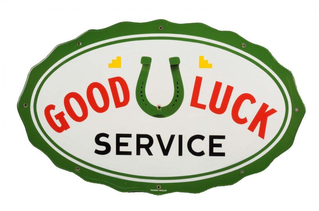Good Luck Service w/ Logo Diecut Porcelain Sign.