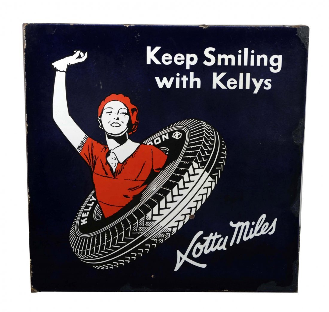 """Kelly """"Keep Smiling with Kelly's"""" Porcelain Sign."""