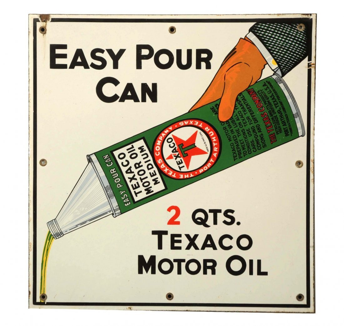 Texaco - Black T - Easy Pour Can Sign.