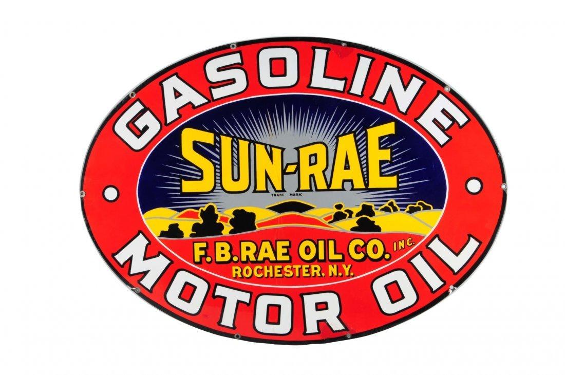 Sun-Rae Gasoline Motor Oil Oval Porcelain Sign.