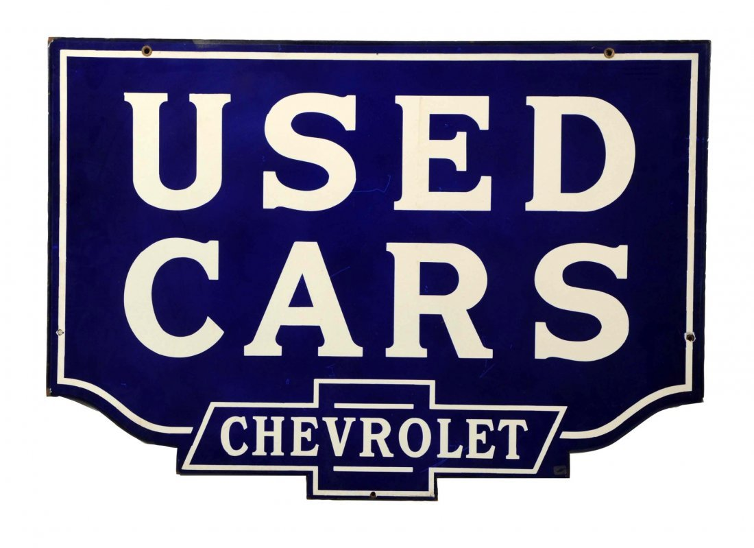 """Chevrolet """"Used Cars"""" Diecut Porcelain Sign."""