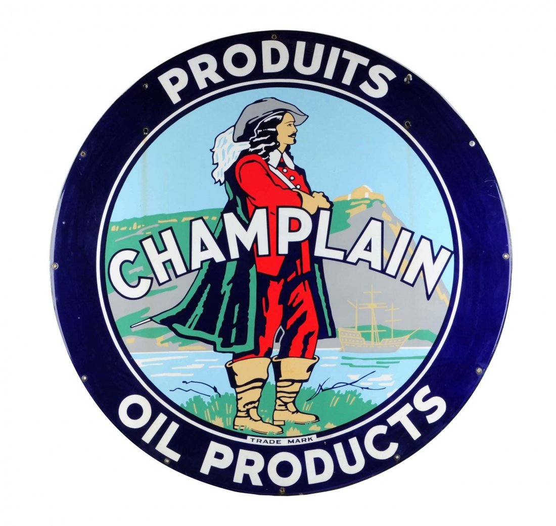 Very Rare Champlain Oil Products Porcelain Sign.