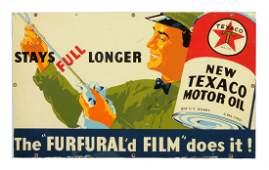 Texaco (black-T) Motor Oil Tin Sign.