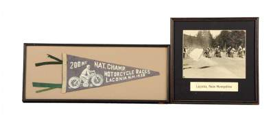Lot of 2: Photograph and Pennant from Laconia N.H.