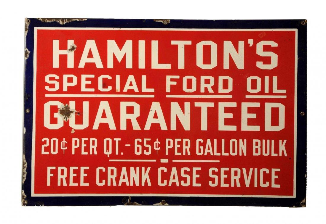 Hamilton's Special Ford Oil Guaranteed Sign.