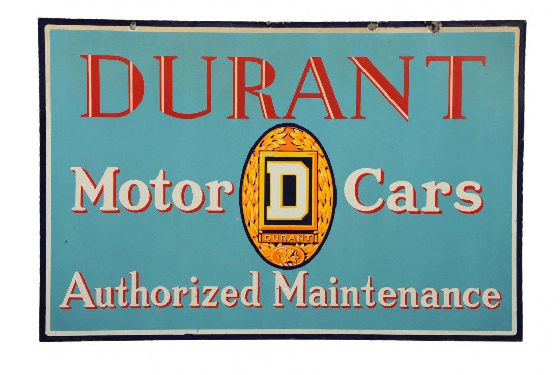 Durant Motor Cars Authorized Maintenance Sign.