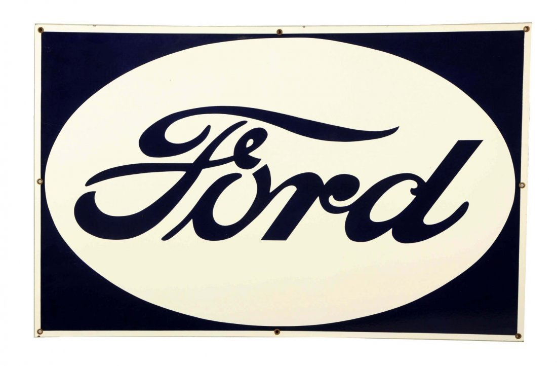 Ford in Oval Shaped Porcelain Sign.