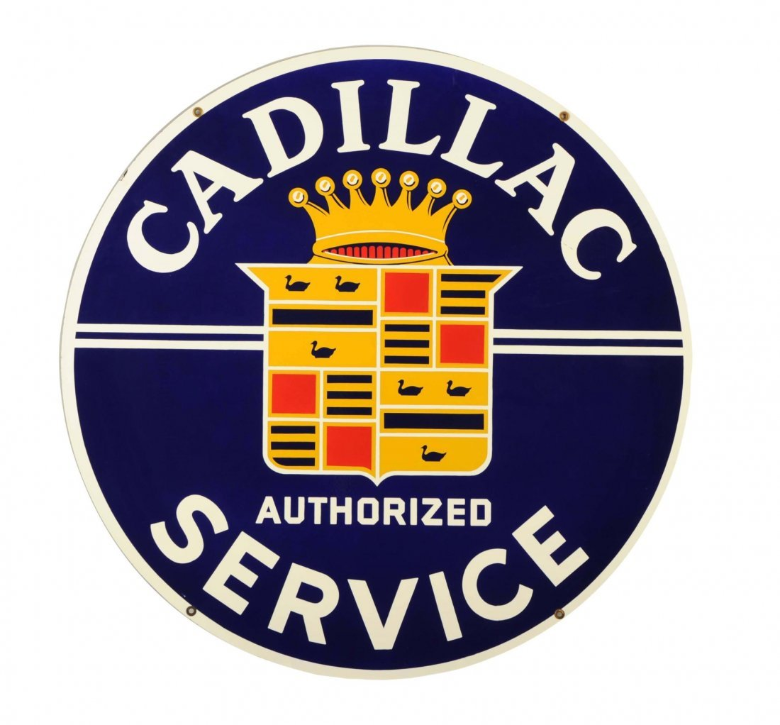 Cadillac Authorized Service with Crest Logo Sign.