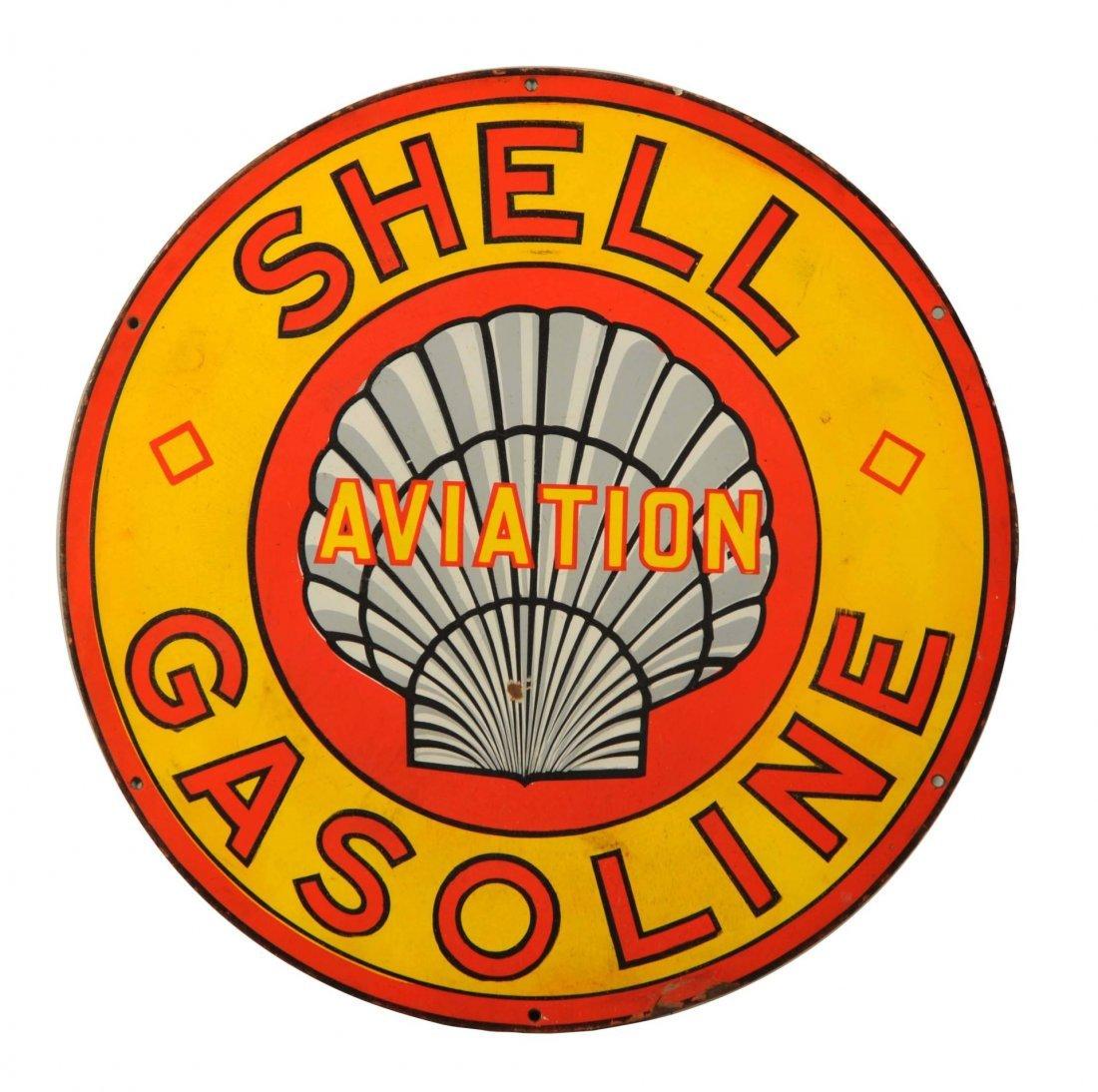 Shell Aviation Gasoline w/ Grey Roxanne Logo Sign.