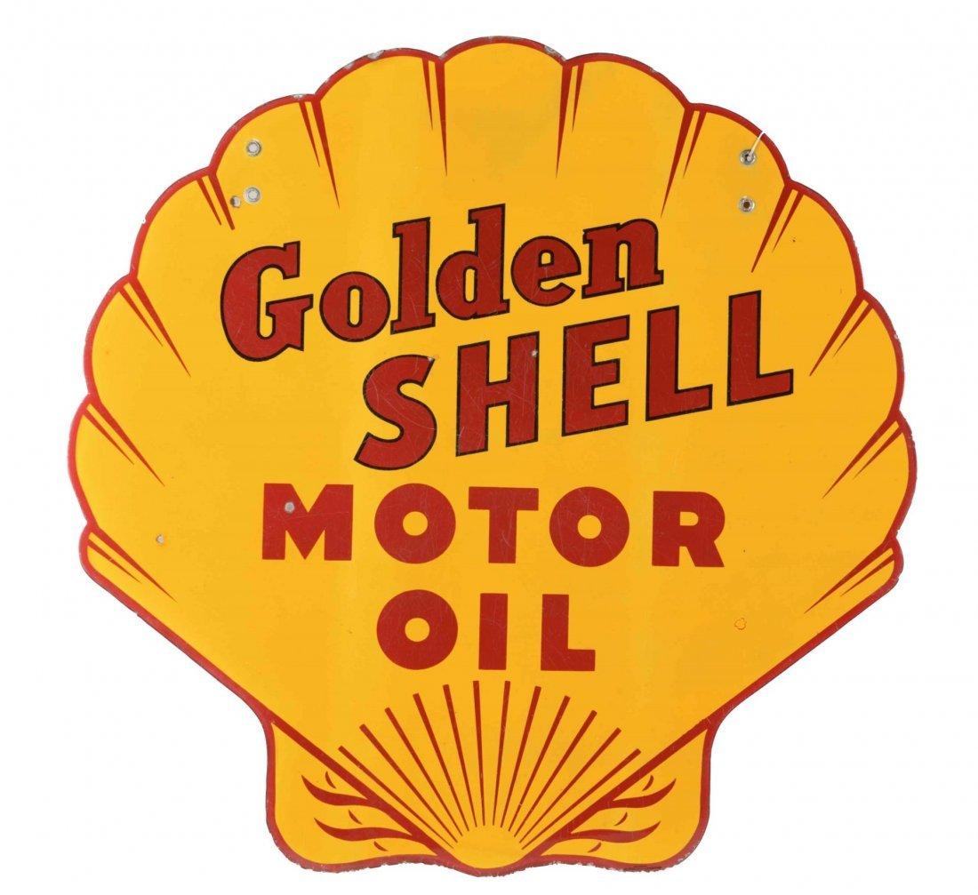 Golden Shell Motor Oil Shell Shape Porcelain Sign.