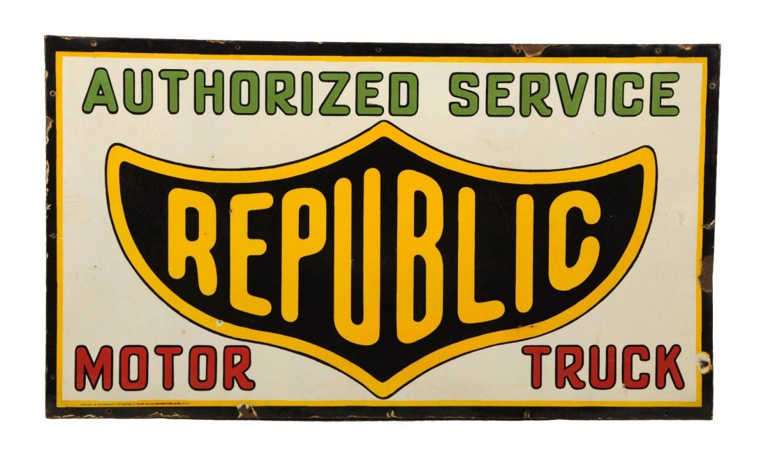 Republic Motor Trucks Authorized Service Sign.