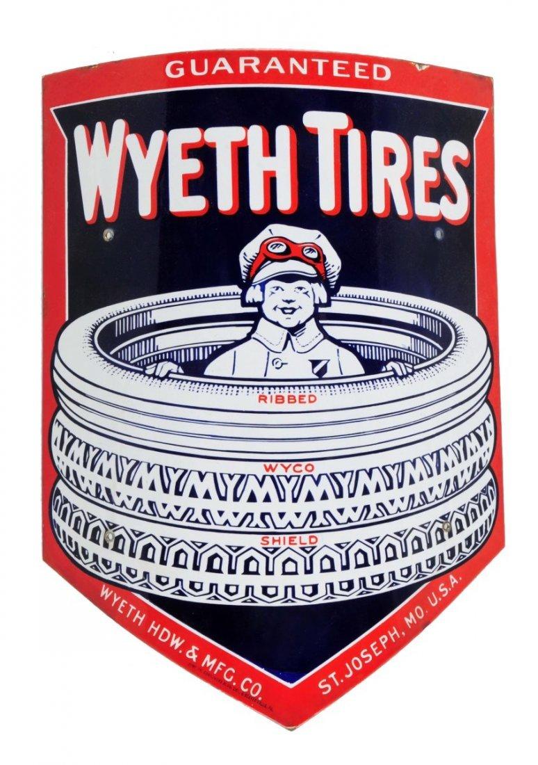 Wyeth Tires Porcelain Curved Sign.