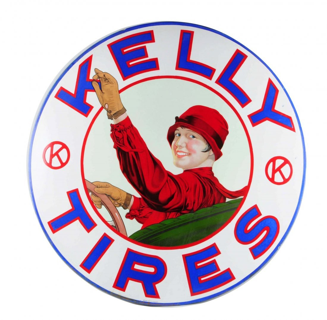 """Kelly Tires With """"Lotta Miles"""" Logo Sign."""