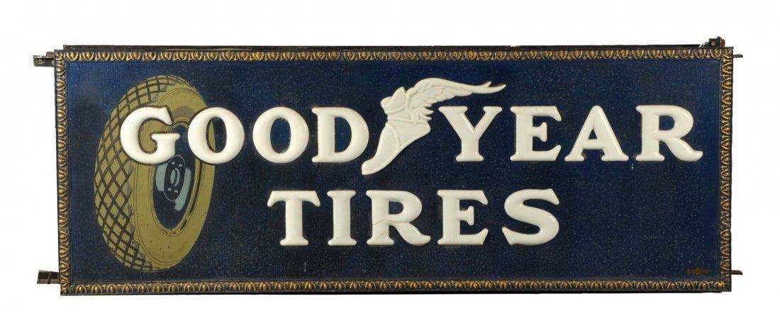 Goodyear Tires Embossed Milkglass Tin Sign.