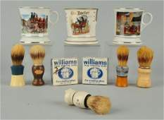 Lot Of 10 Shaving Mugs Brushes And Soap