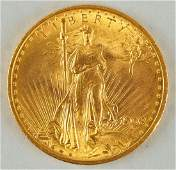 1908 $20 St Gaudens Double Eagle Gold Coin.