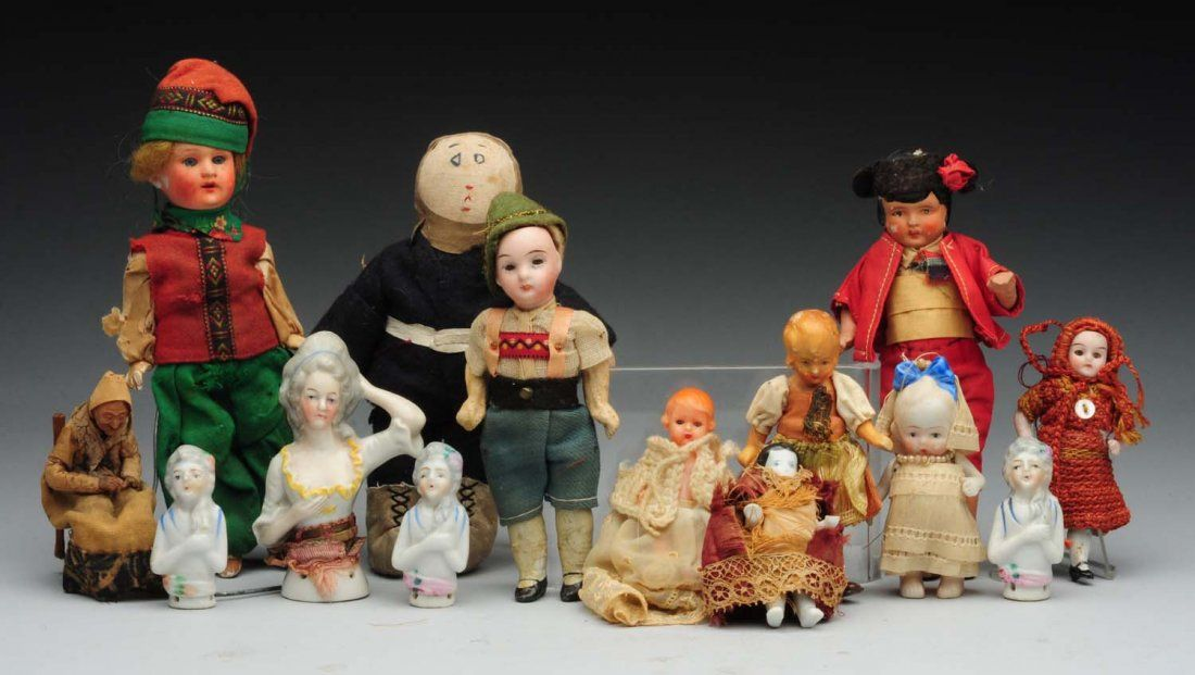 Lot of 14: Small Dolls and Half Dolls.