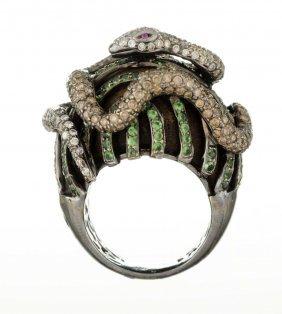 A Diamond, Gem Set And Ebony Ring.