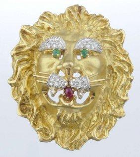A Diamond And Gem Set Lion Brooch, Hammerman Bros.