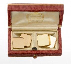 A Pair Of Gold Cufflinks, Cartier.