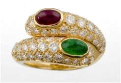 A Gem Set And Diamond Ring, Cartier.