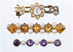 A Group Of Three Victorian Bar Pins.
