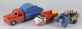 Lot Of 3: Pressed Steel Toy Trucks