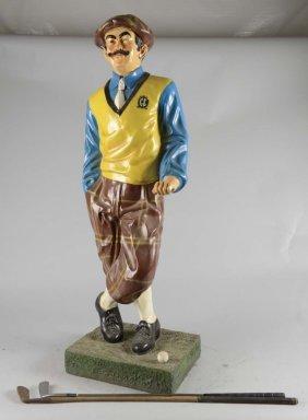 Figural Golfer Statue On Base