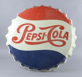 Pepsi-cola Bottle Cap Shaped Embossed Tin Sign