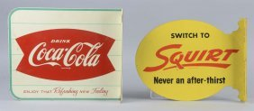 Lot Of 2: Coca Cola And Squirt Tin Flange Signs
