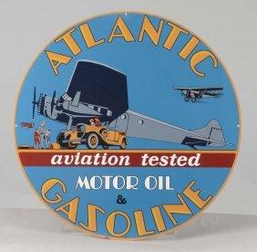 Reproduction Atlantic Gasoline Round Tin Sign