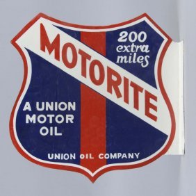 Union Oil Motorite Porcelain Flange Sign