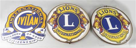 Lot Of 3 Civitan and Lion Club Porcelain Signs