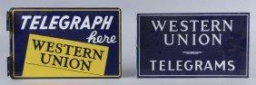 Lot Of 2: Western Union Porcelain Flange Signs