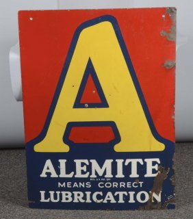 Alemite Lubrication Double Sided Porcelain Sign