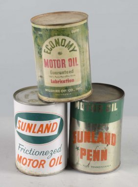 Lot Of 3: One Quart Motor Oil Cans