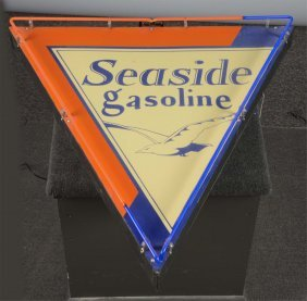 Seaside Gasoline With Logo Neon Sign